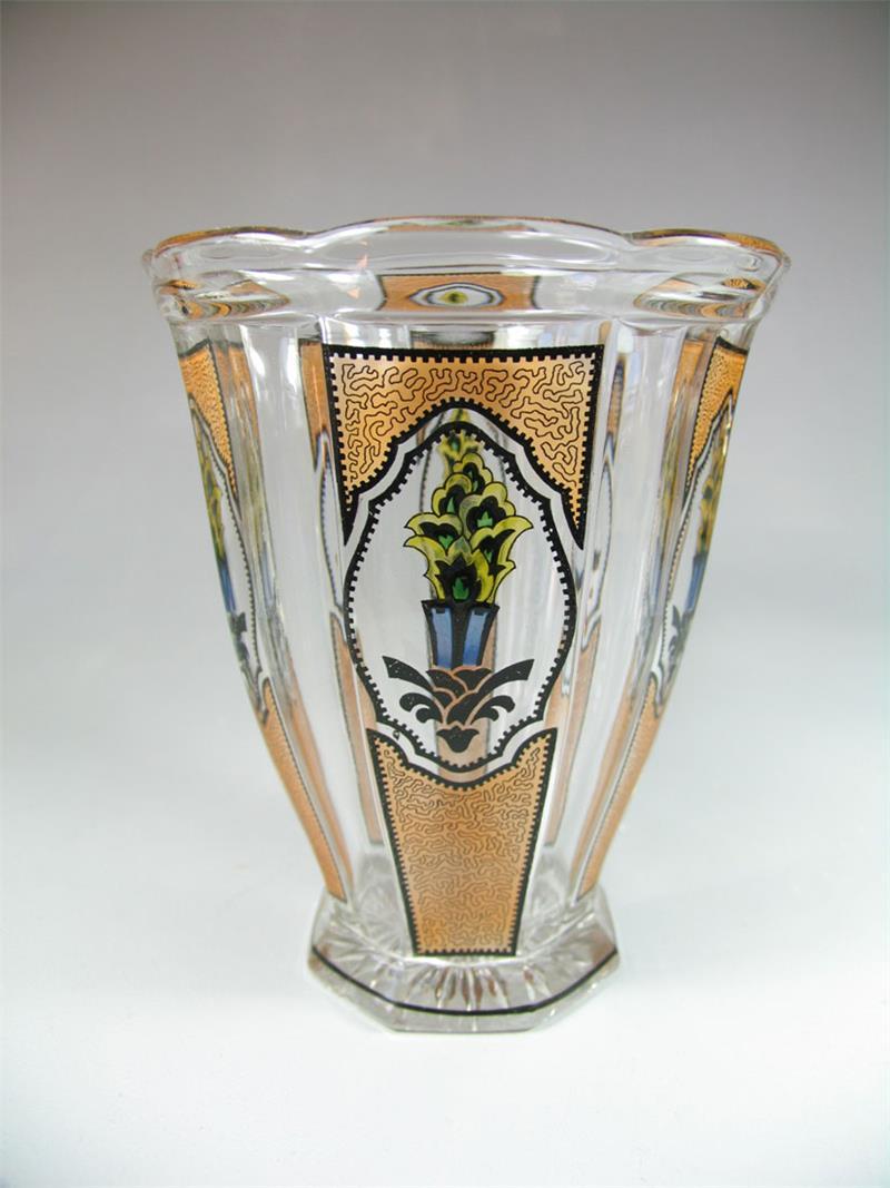 art deco glas vase mit schwarzlot malerei in der art steinschoenau haida ebay. Black Bedroom Furniture Sets. Home Design Ideas