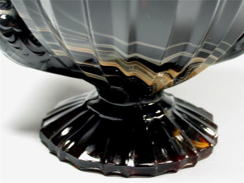 Art deco pressglas schale aufsatzschale schwarzes glas mit for Schwarzes glas
